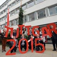 Eröffnung der Kirchentags-Geschäftsstelle in Stuttgart; ganz rechts im Bild unser Interviewspartner; Quelle: DEKT