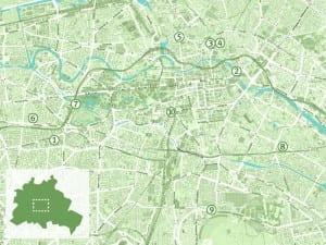 Karte von Berlin mit NATURSTROM-Route. (Graphik: © OpenStreetMap-Mitwirkende)