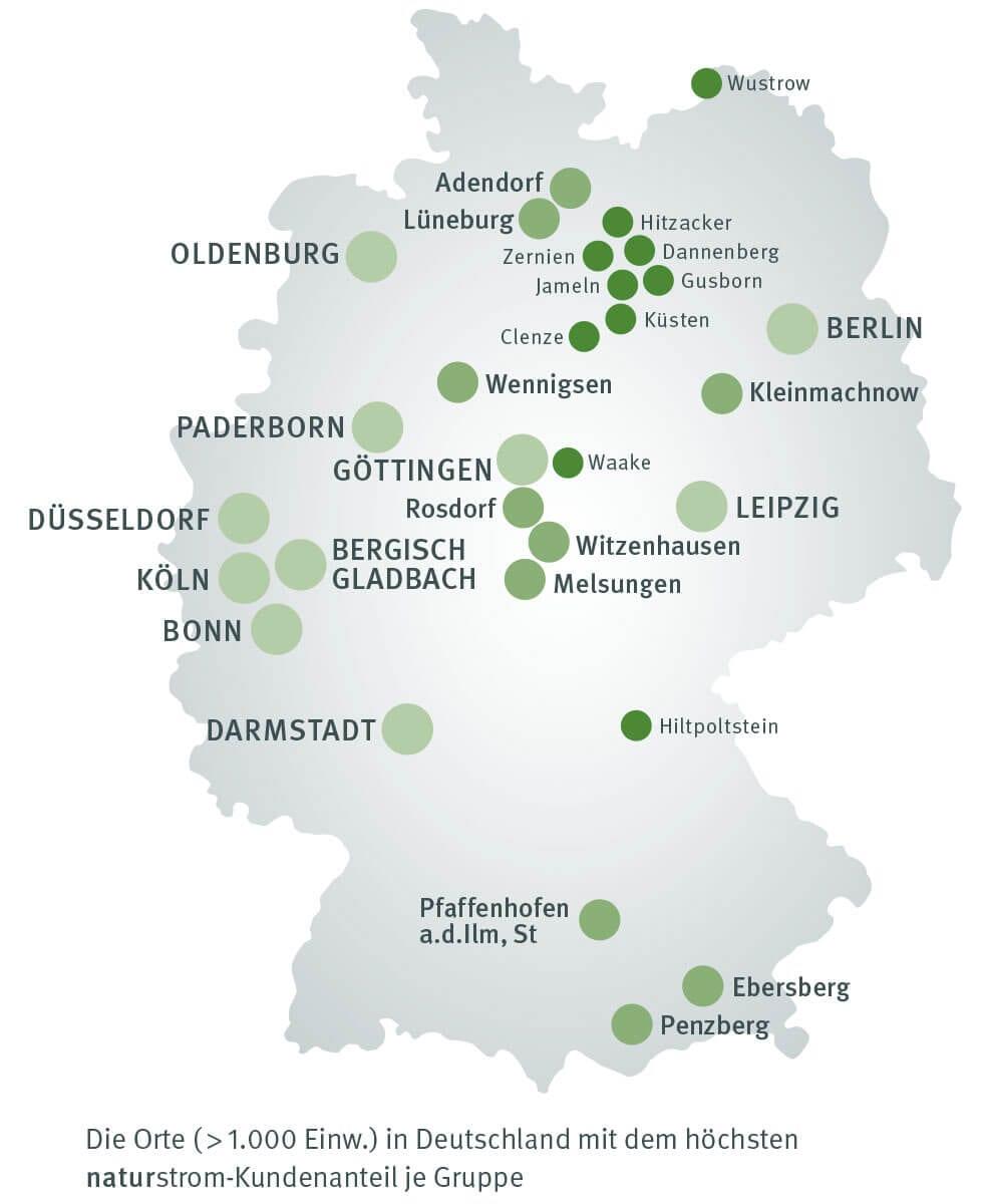 In diesen Städten leben die meisten NATURSTROM-Kundinnen und Kunden! © NATURSTROM AG