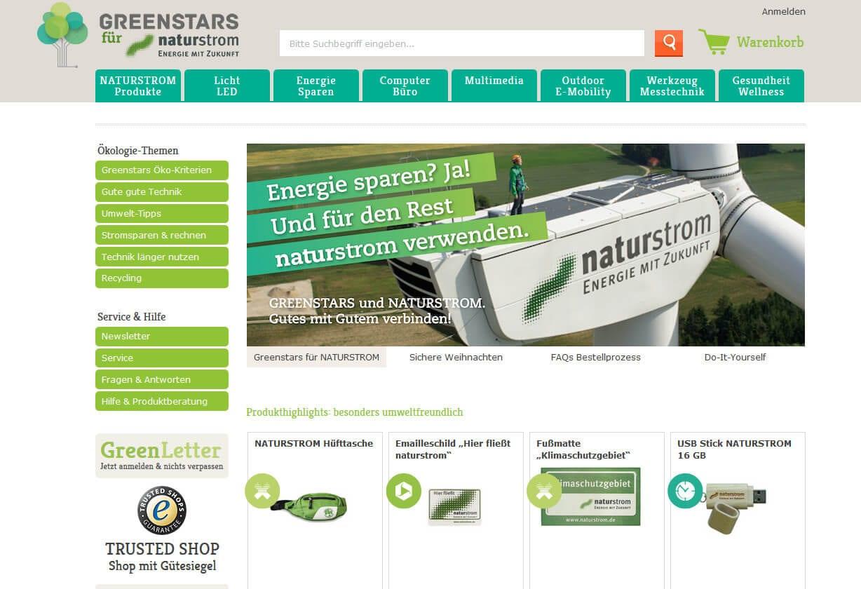 Screenshot des neuen NATURSTROM-Shops. © NATURSTROM AG