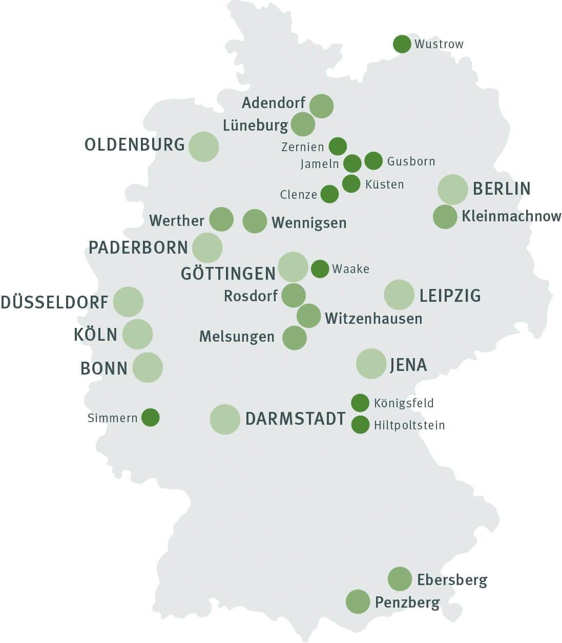 Bundesliga: Übersicht Deutschlandkarte