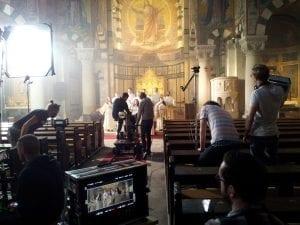 Die Dreharbeiten fanden in der Herz Jesu Kirche in Berlin-Prenzlauer Berg statt © NATURSTROM AG