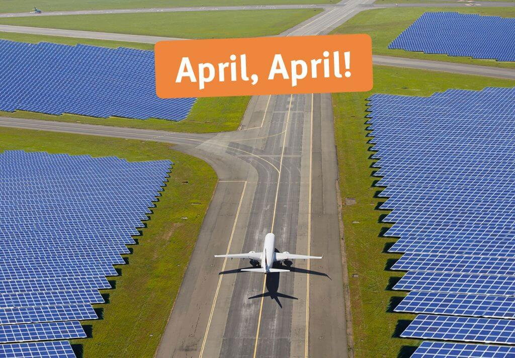 Grüne Landung auf dem umgenutzter BER-Flughafen Fotomontage NATURSTROM