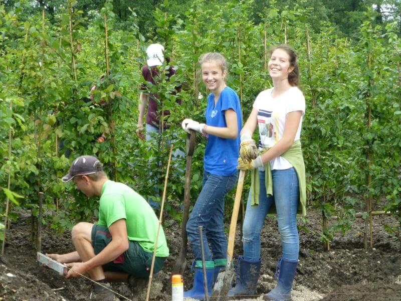 Schüler bei den Pflanzarbeiten
