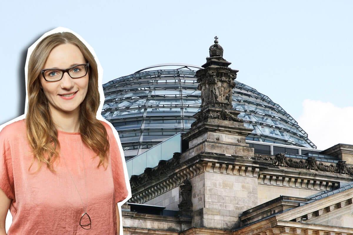 Lisa Badum vor dem Bundestag