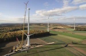 Bau der Windkraftanlage in Ramsthal 2015