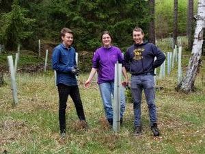 Drei Schüler bei der Aufforstung