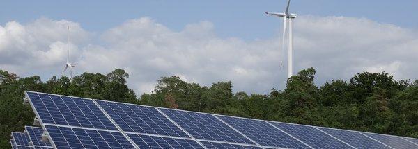 Photovoltaikanlage vor Windrad